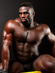 Ebony bodybuilder Aden Taylor stokes his muscled cock, Added: 2012-11-25 by Muscle Hunks