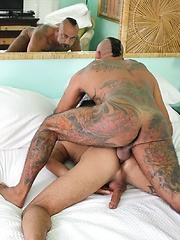 Two hot tattooed lads Bo Bangor and Santiago Rodriguez fucking, Added: 2013-05-26 by Breed Me Raw
