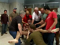 Pissed off janitor fucked in bondage by horny bathroom cruisers, Added: 2015-08-25 by Bound in Public