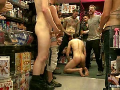 Hot ripped stud gets punished and gang fucked by a crowd for stealing, Added: 2015-08-25 by Bound in Public
