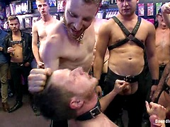 Naked stud bound, beaten and humiliated at Dore Alley Street Fair, Added: 2015-08-27 by Bound in Public